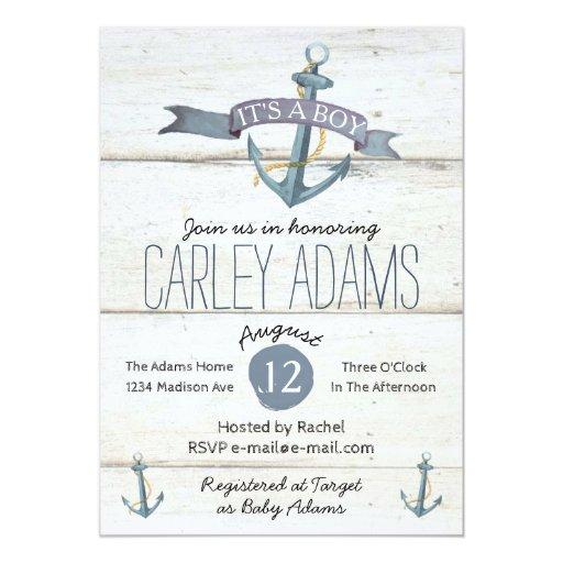 Rustic Adorned with Anchors   Baby Shower Invitation