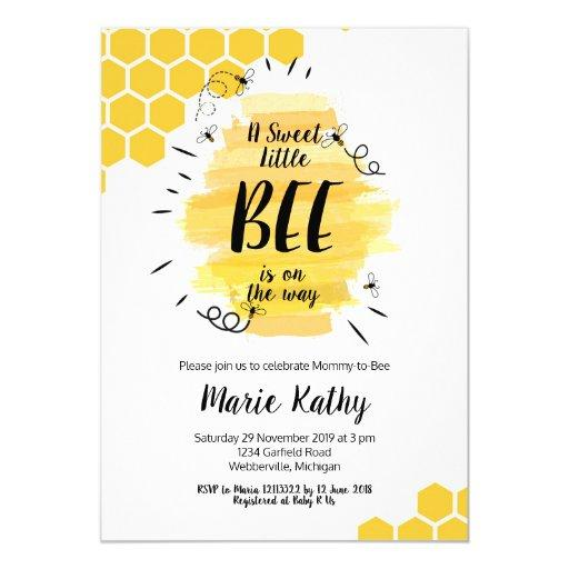 a sweet little be is on the way baby shower invite