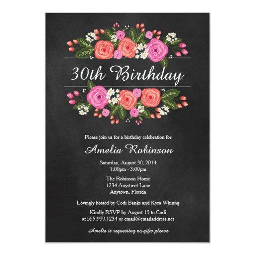 Adult Birthday Invitation, floral chalkboard style Invitations