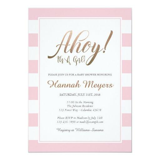 Ahoy! It's A Girl Nautical Baby Shower Invitation