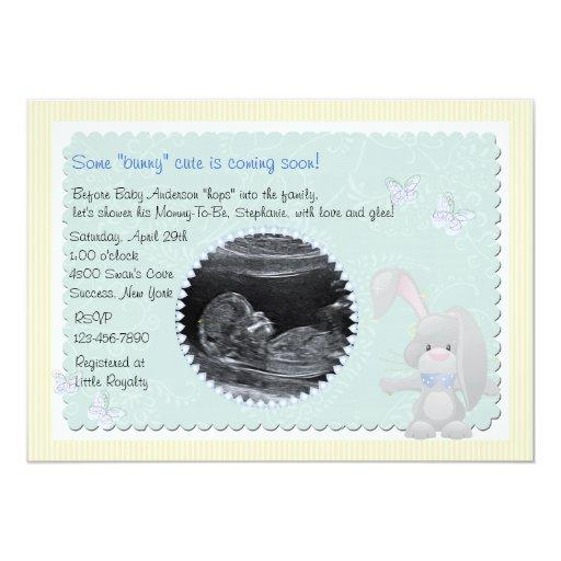 Baby Bunny Blue Photo Baby Shower