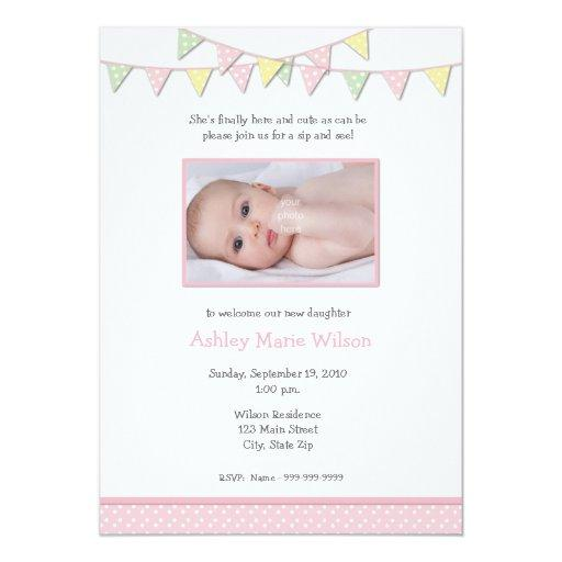 Baby Girl Photo Sip and See Invitation