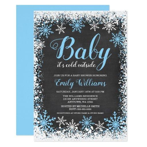 Baby Its Cold Outside Snow Winter Boy Baby Shower Invitationss