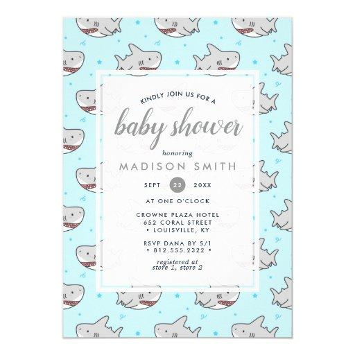 Baby Shark Ocean Fish Cute Boy Baby Shower Invitation
