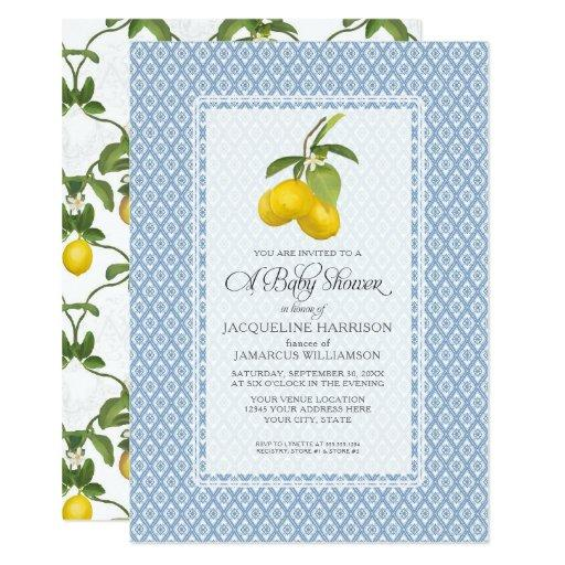 Baby Shower Citrus Garden Lemon Trellis Pattern Invitations