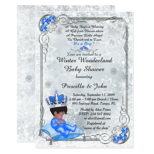 Baby Shower honoring BOY,Prince Boy,Silver & Blue. Invitations