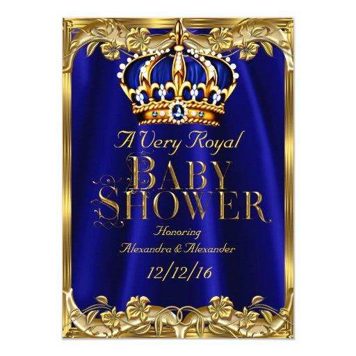 Baby Shower Royal Blue Navy Gold Crown Invitations