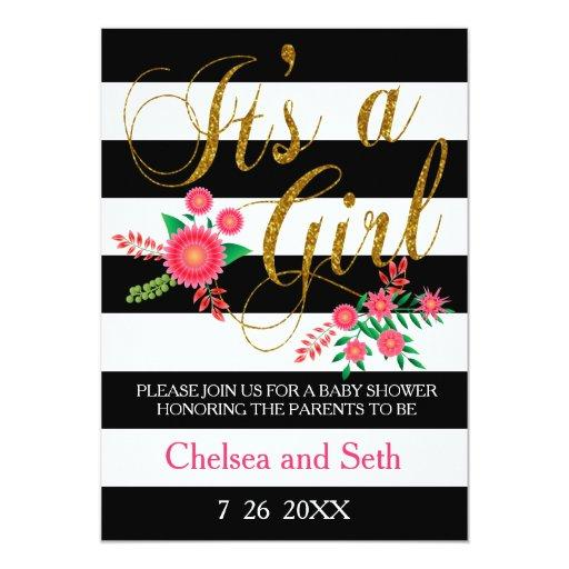 Black & White Stripes | Pink Floral | Baby Shower Invitations