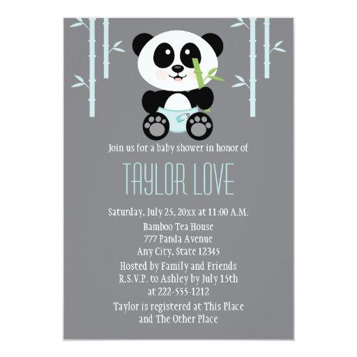 Blue Bamboo Panda in Diapers Baby Shower Invitations