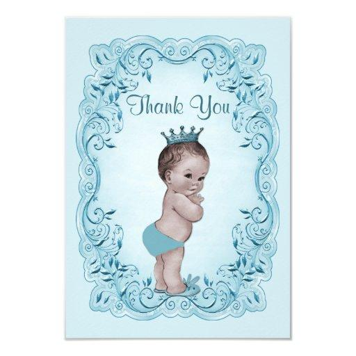 Blue Vintage Prince Baby Shower Thank You Invitations