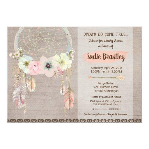 Boho Baby Shower Invitation, Dreamcatcher Rustic Invitations