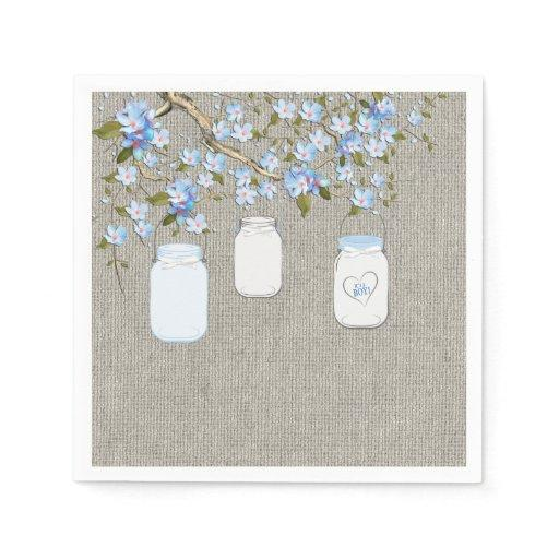 Boys Burlap Mason Jar Baby Shower Napkin