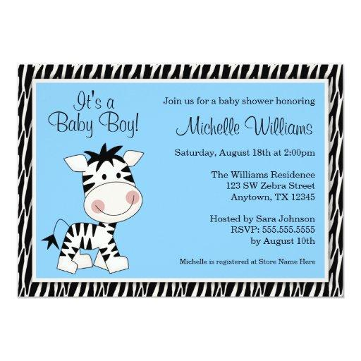 Cute Blue Zebra Boy Baby Shower