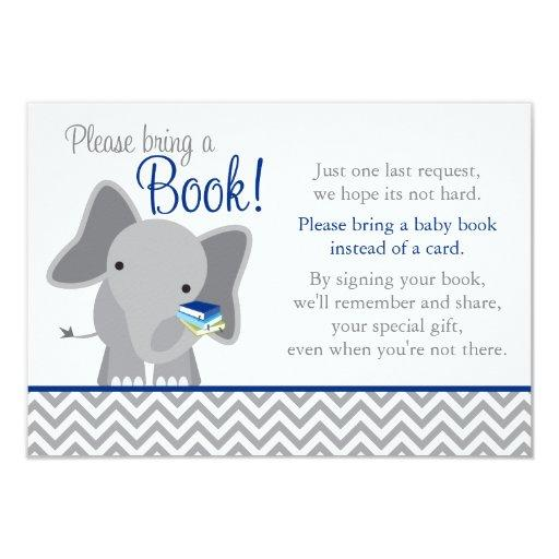 Cute Elephant Chevron Navy Blue Baby Shower Book