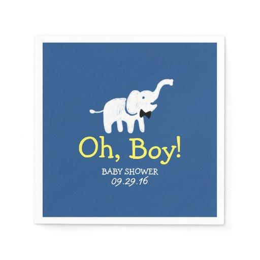Cute Elephant Navy Blue Boy Baby Shower Standard Cocktail Napkin