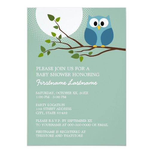 Cute Owl on Branch Baby Boy Shower Invitations