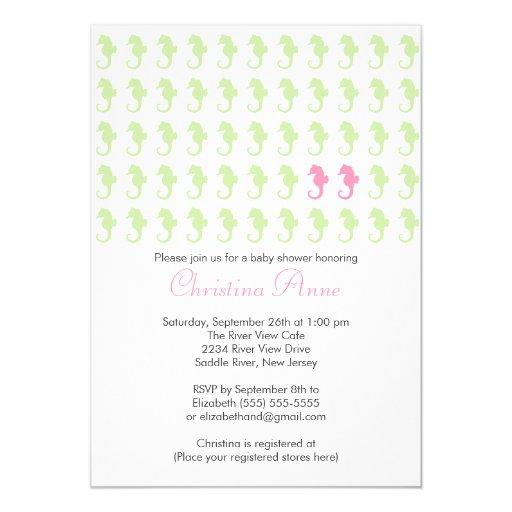Cute Seahorse Twin Girl Multiple Baby Shower