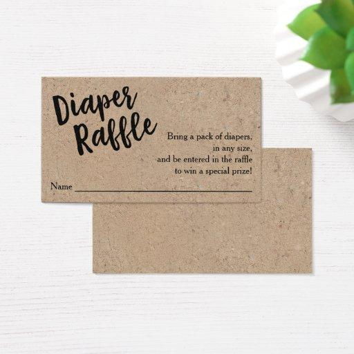 Diaper Raffle Ticket, Black Script Kraft  Invitations