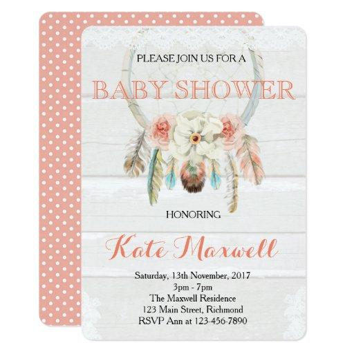 Dreamcatcher Boho Baby Shower Invitations