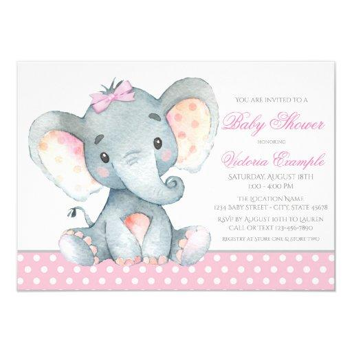 Elephant Baby Girl Shower Invitationss