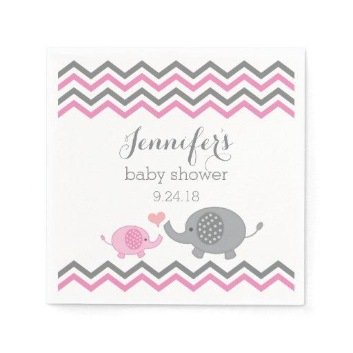 Elephant Baby Shower Napkins Pink Gray Chevron Standard Cocktail Napkin