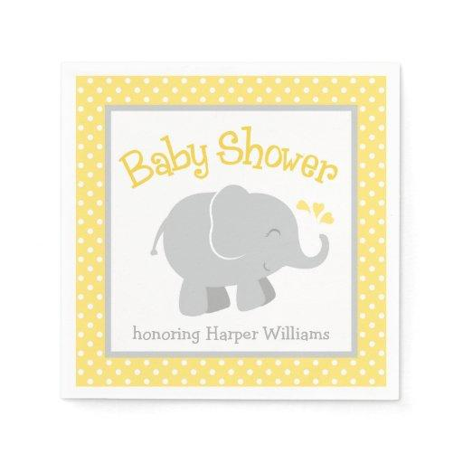 Elephant Baby Shower Napkins | Yellow and Gray Standard Cocktail Napkin