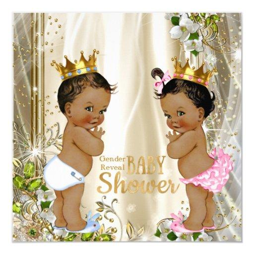 Ethnic Prince Princess Gender Reveal Baby Shower Invitations