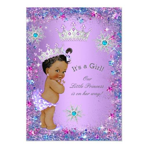 Ethnic Princess Baby Shower Purple Teal Blue Pink Invitations
