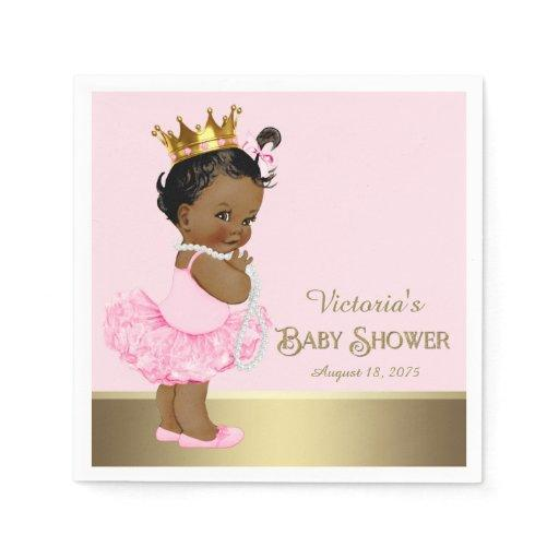Ethnic Princess Tutu Pearls Pink Gold Baby Shower Standard Cocktail Napkin