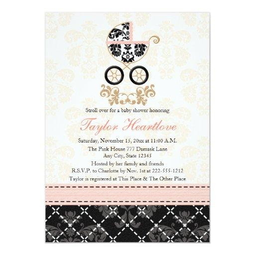Fancy Pink and Black Damask Carriage Baby Shower Invitationss