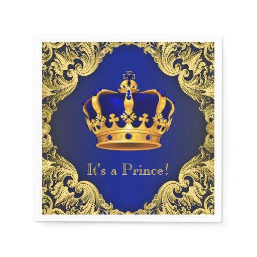 Fancy Royal Blue Gold Prince Baby Shower Paper Napkin