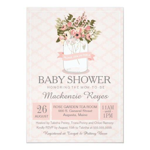 Floral Mason Jar Baby Shower Invitation