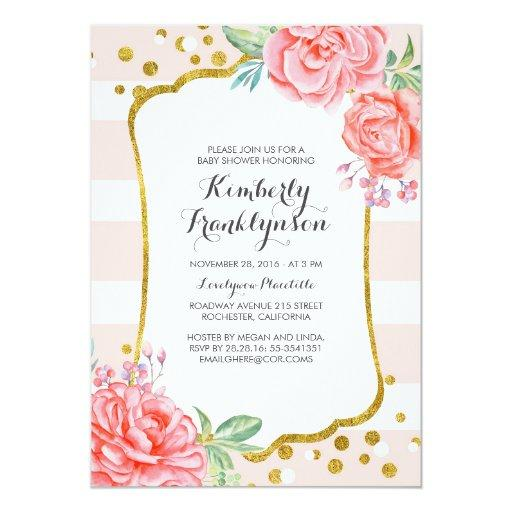 Floral Pink Stripes Gold Confetti Baby Shower Invitationss