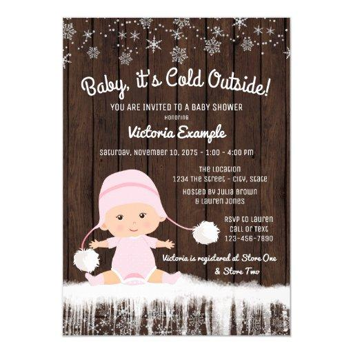 Girls Baby its Cold Outside Winter Baby Shower Invitations