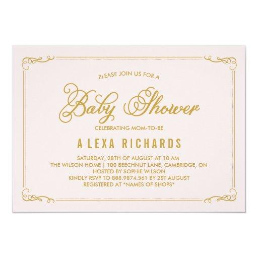 Gold Whimsical Borders Baby Shower