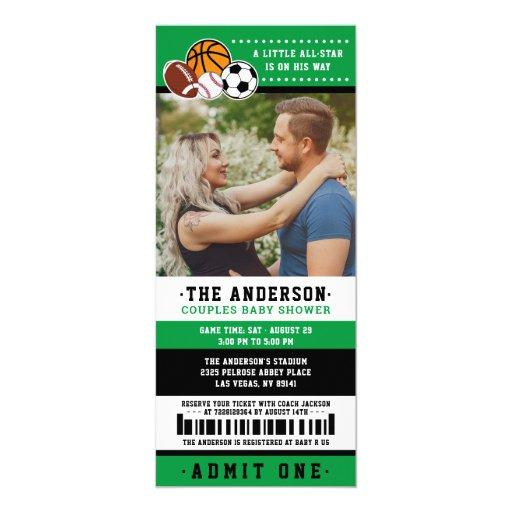 Green All Star Sport Ticket Couples Shower Photo Invitation