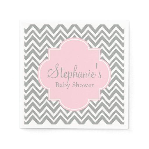 Grey, White and Pastel Pink Chevron Baby Shower Standard Cocktail Napkin