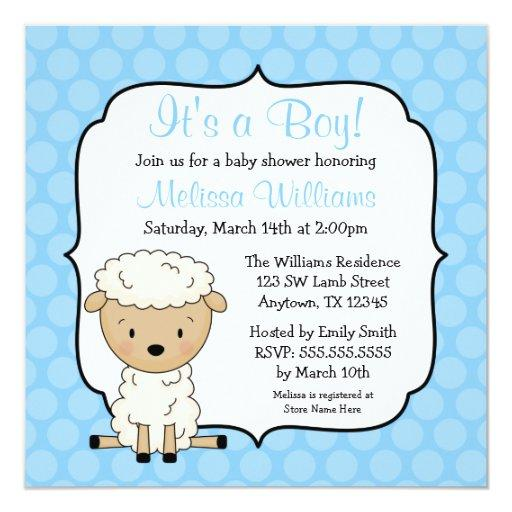 Lamb Blue Dots Boy Baby Shower