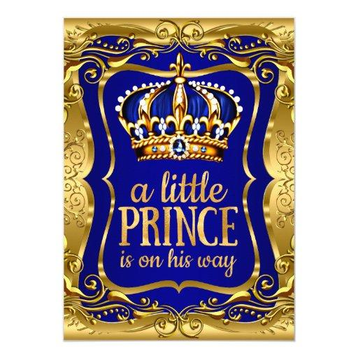 Little Prince on his way Baby Shower Gold Blue