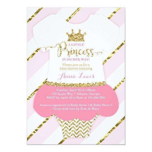 Little Princess Baby Shower Invitation, Pink, Gold Invitations