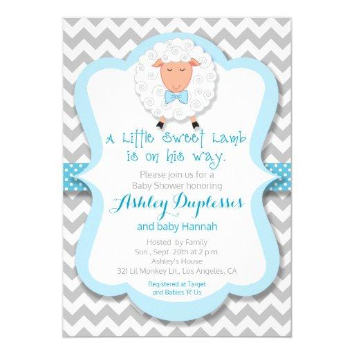 Little Sweet Lamb Boy Baby Shower Invitations