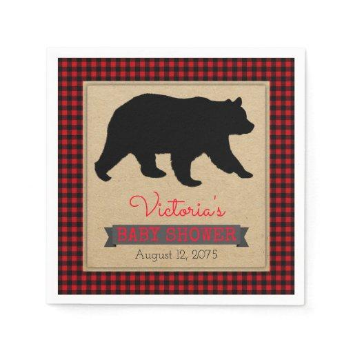 Lumberjack Buffalo Plaid Bear Baby Shower Paper Napkin