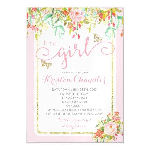 MAGNET Butterfly Girl Floral Rose Baby Invitation
