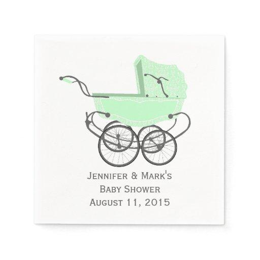 Mint Green Pram Custom Baby Shower Paper Napkins