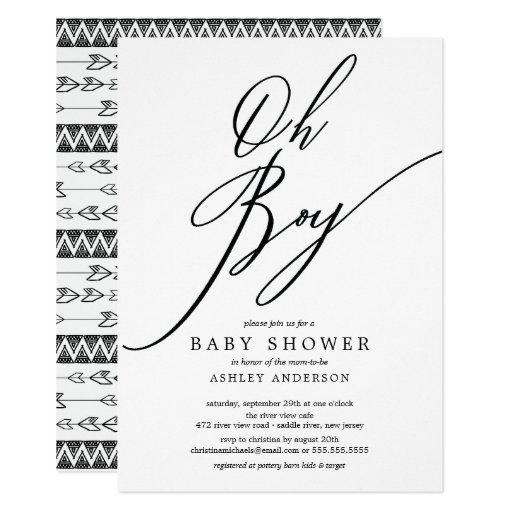 Modern Tribal Oh Boy Baby Shower Invitation