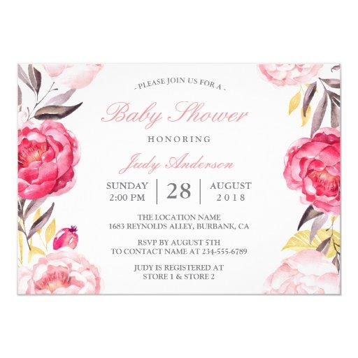Modern Watercolor Floral Botanical Baby Shower Invitations