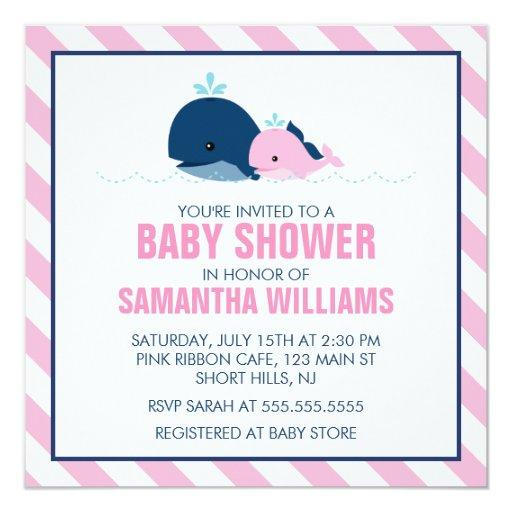 Mom and Baby Whale Baby Shower {pink} Invitation