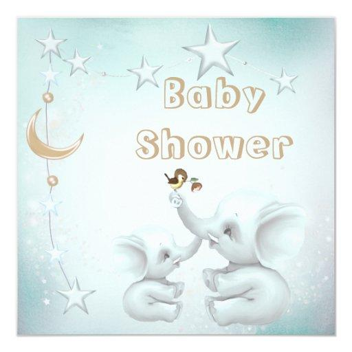 Mom & Baby Elephant, Moon & Stars Baby Shower Invitations