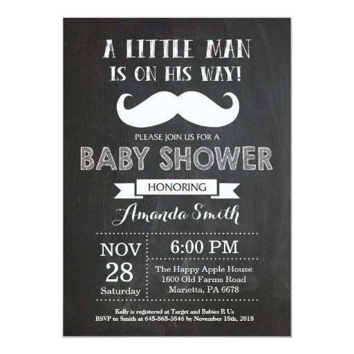 Mustache Baby Shower Invitation Chalkboard