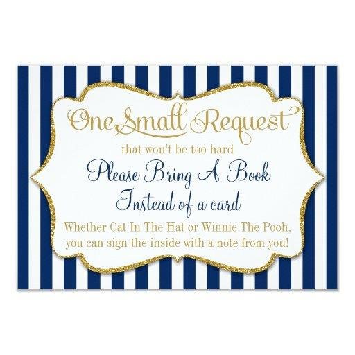 Navy Blue Gold Baby Shower Book Invitations Bring A Book
